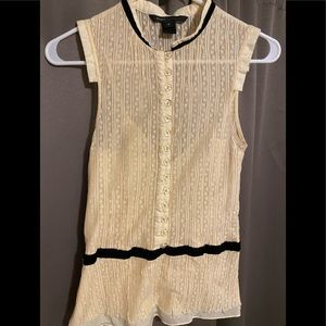 Marc Jacobs Cream Sleeveless Lace Blouse